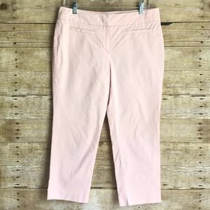 NEW YORK & COMPANY CASUAL FLAT FRONT CAPRI PANTS PINK COLOR WAY SIZE 8